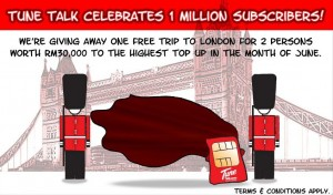 Win a Free Trip to London - Tune Talk 1 Million Subscribers Contest